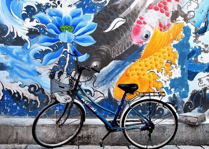 Bicycle Greeting Card featuring the photograph Bicycle Against Mural by Joe Bonita