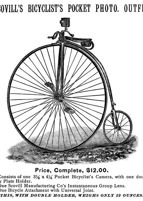 1887 Greeting Card featuring the photograph Bicycle Camera Ad, 1887 by Granger