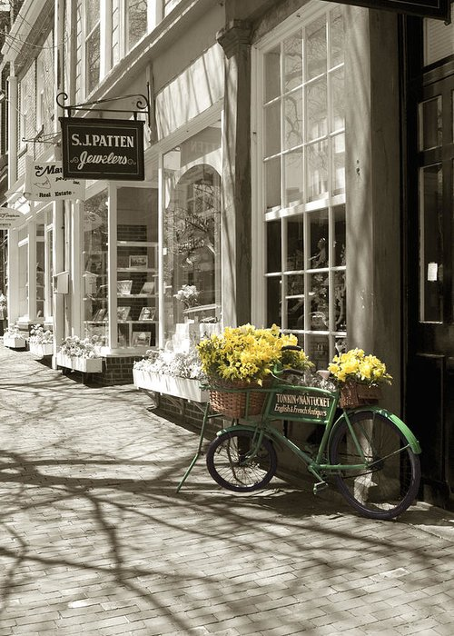 Floral Greeting Card featuring the photograph Bicycle With Flowers - Nantucket by Henry Krauzyk