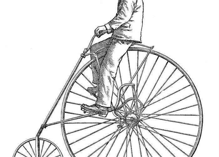 1880 Greeting Card featuring the photograph Bicycling, 1880 by Granger