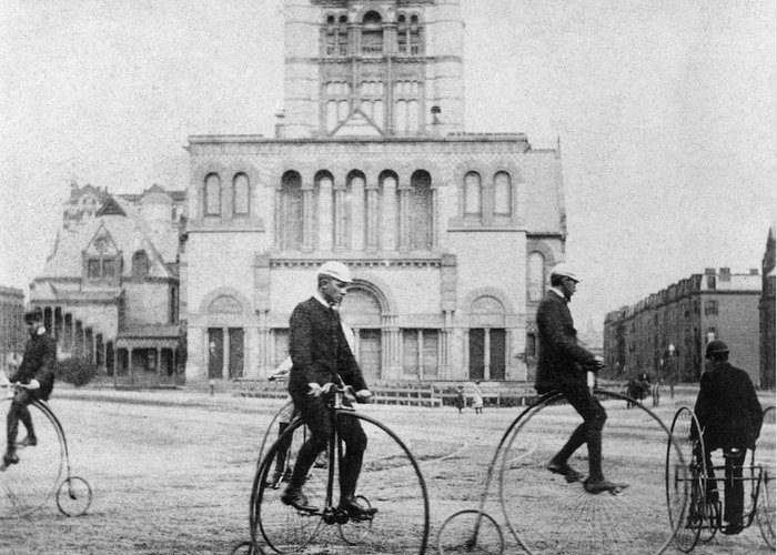 1880s Greeting Card featuring the photograph Bicycling, 1880s by Granger