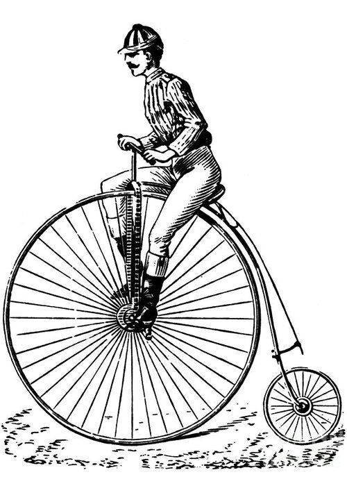 1890s Greeting Card featuring the photograph Bicycling, C1890 by Granger