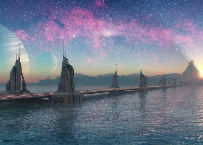 Asgard Greeting Card featuring the digital art Bifrost Bridge by Cynthia Decker
