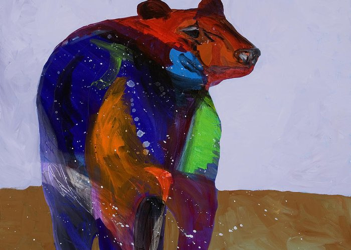 Black Bear Greeting Card featuring the painting Big Bear by Tracy Miller