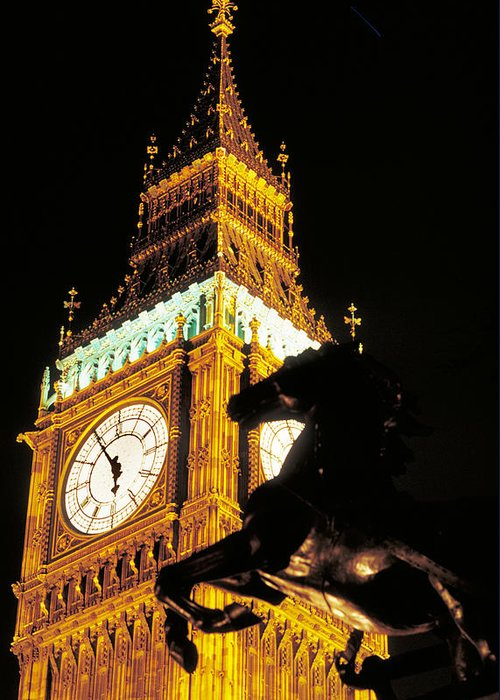 Clock Greeting Card featuring the photograph Big Ben In London by Carl Purcell