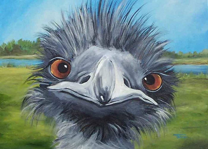 Emu Greeting Card featuring the painting Big Bird - 2007 by Torrie Smiley