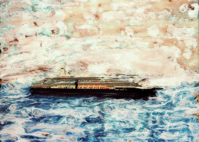 Paul Tokarski Greeting Card featuring the photograph Big Black Ship by Paul Tokarski