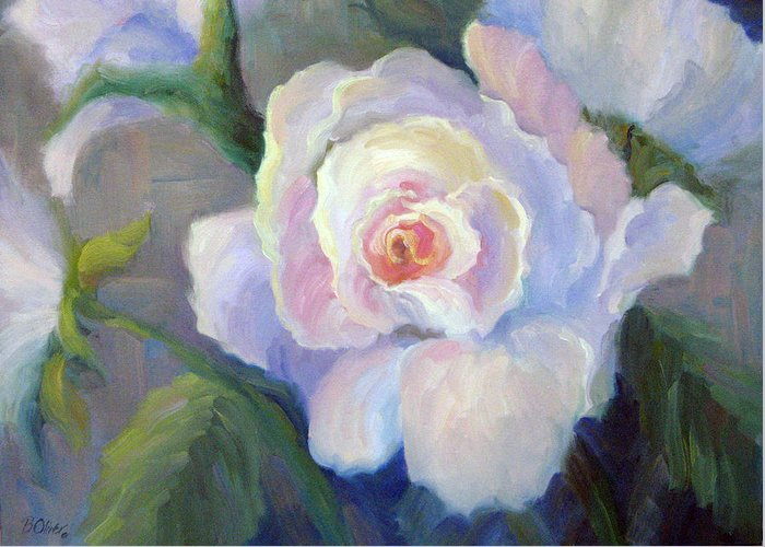 Flower Greeting Card featuring the painting Big Blushing Rose by Bunny Oliver