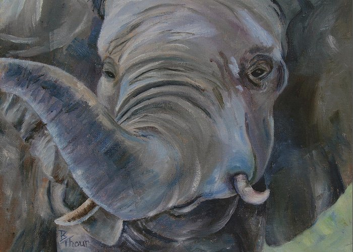 Elephant Greeting Card featuring the painting Big Boy by Brenda Thour