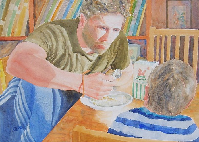 Figure Greeting Card featuring the painting Big Brother by Jan Rapp