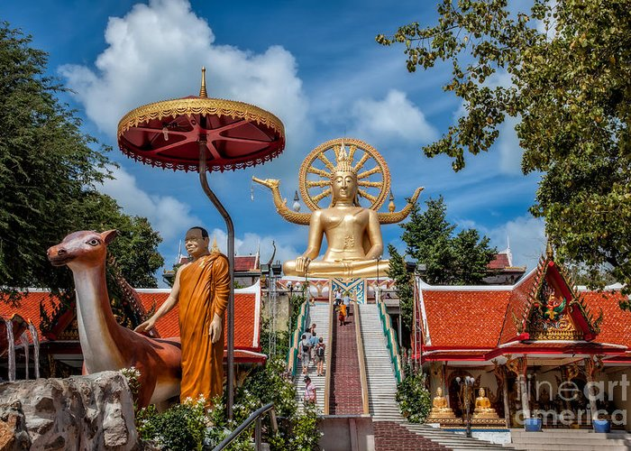 Buddha Greeting Card featuring the photograph Big Buddha Temple by Adrian Evans