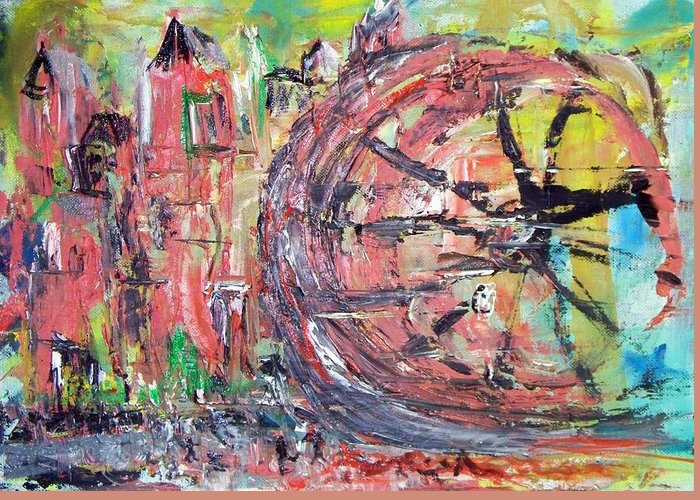 Abstract Cityscape Greeting Card featuring the painting Big City Wheel Vs Little People by Lynda McDonald