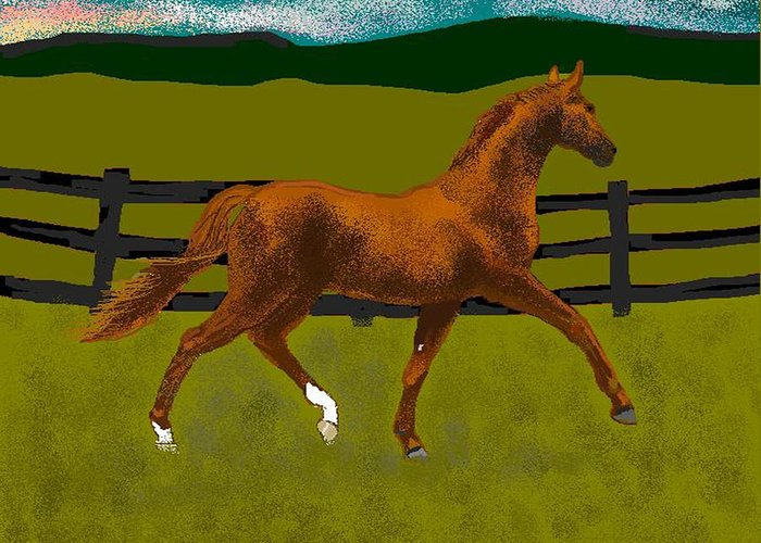 Horse Greeting Card featuring the digital art Big Duke by Carole Boyd