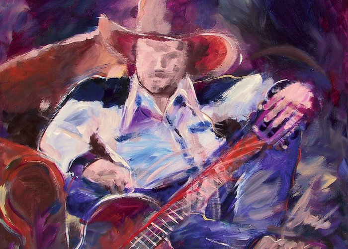 Figurative Greeting Card featuring the painting Big Hat Big Guitar by Ron Patterson