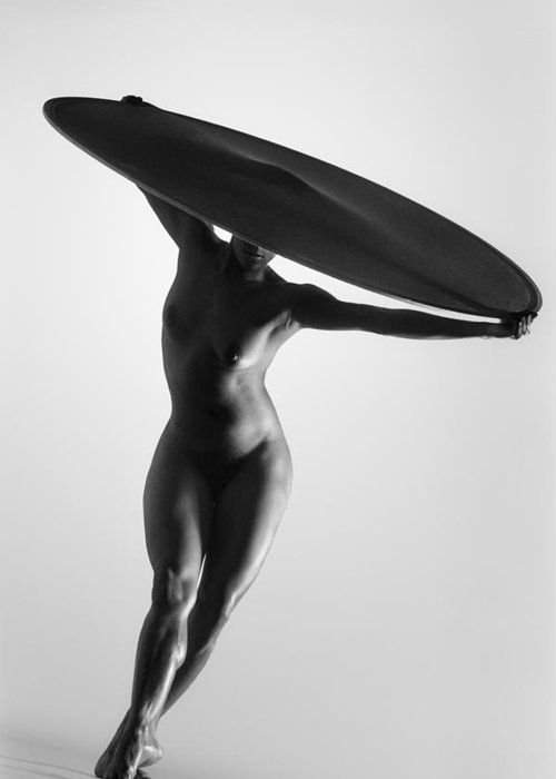 Nude Dancer Greeting Card featuring the photograph Big Hat by Victor Hall