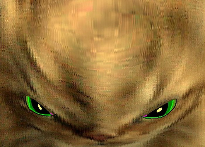 Digital Head Cateyesgreen Eerie Greeting Card featuring the digital art Big Head by Bethwyn Mills