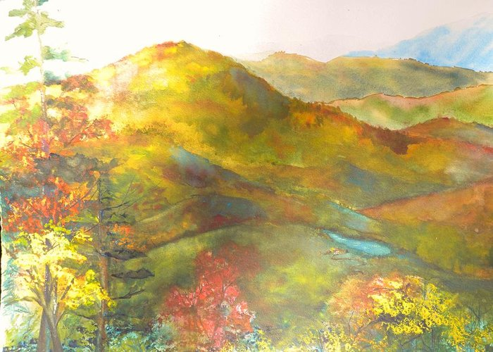 Mountain Vista Greeting Card featuring the painting Big Hill Vista by Kris Dixon