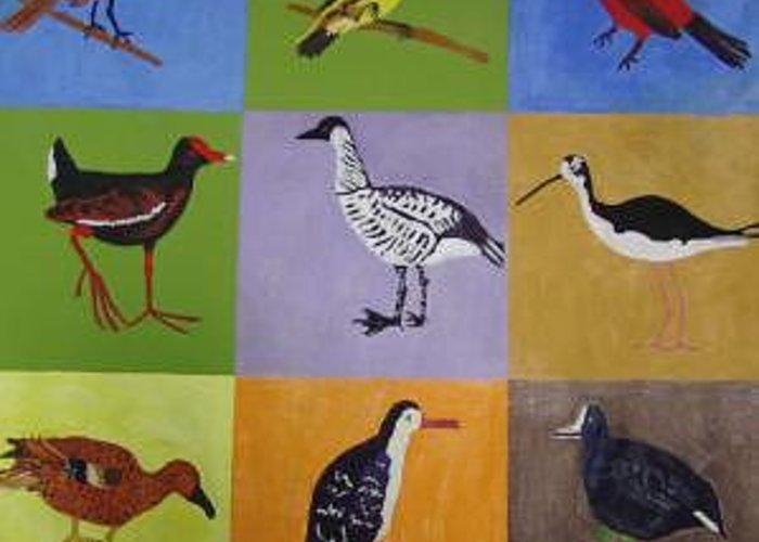 Pop Art Greeting Card featuring the painting Big Island Endangered Birds by Patrice Tullai
