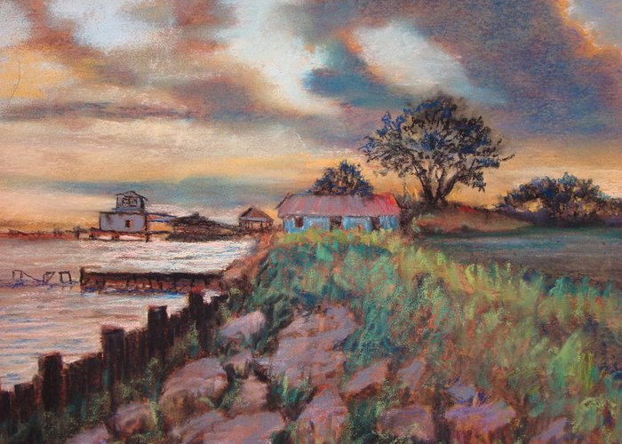 Pastels Greeting Card featuring the painting Big Lake Sunset by Anne Dentler