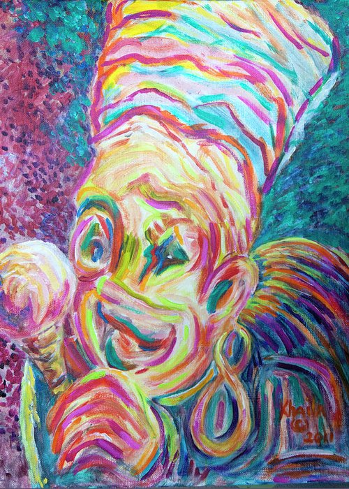 Clown Greeting Card featuring the painting Big Lick by Khaila Derrington