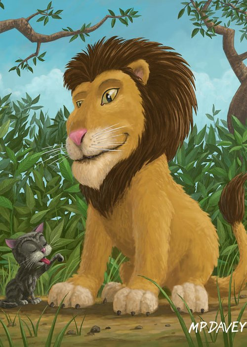 Lion Greeting Card featuring the painting Big Lion Small Cat by Martin Davey