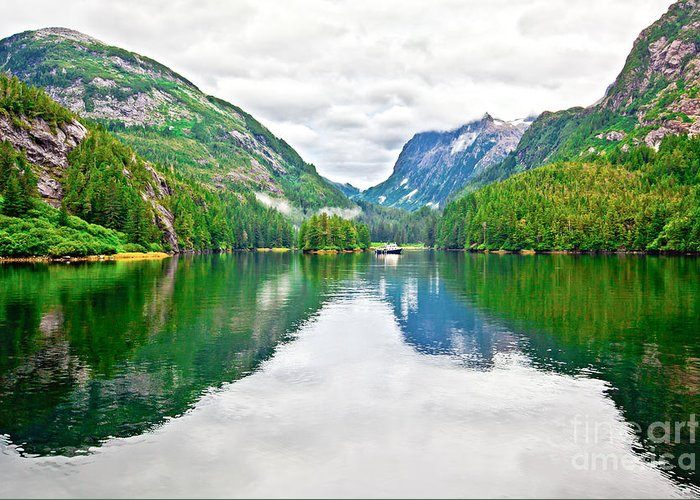 Patterson Bay Greeting Card featuring the photograph Big Mountain Reflections In Patterson Bay Alaska by Christy Woodrow