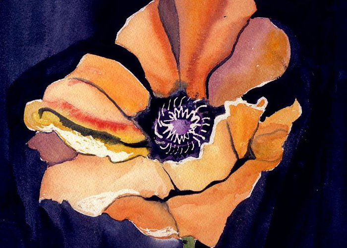 Orange Greeting Card featuring the painting Big Orange Flower by Janet Doggett