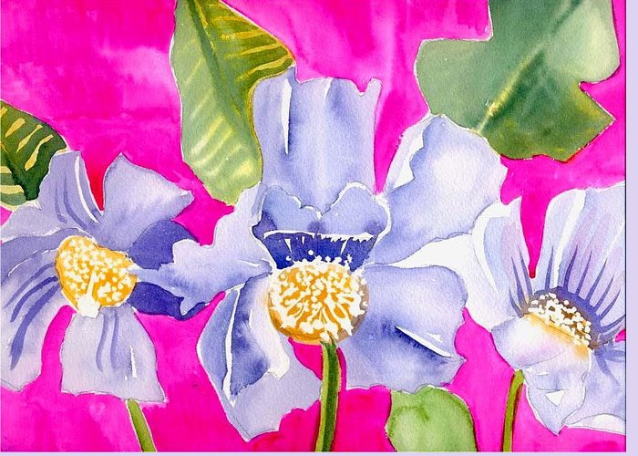 Big Pink Flowers Greeting Card featuring the painting Big Pink Flowers by Janet Doggett