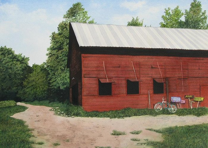 Landscape Greeting Card featuring the painting Big Red Barn by Sharon Farber