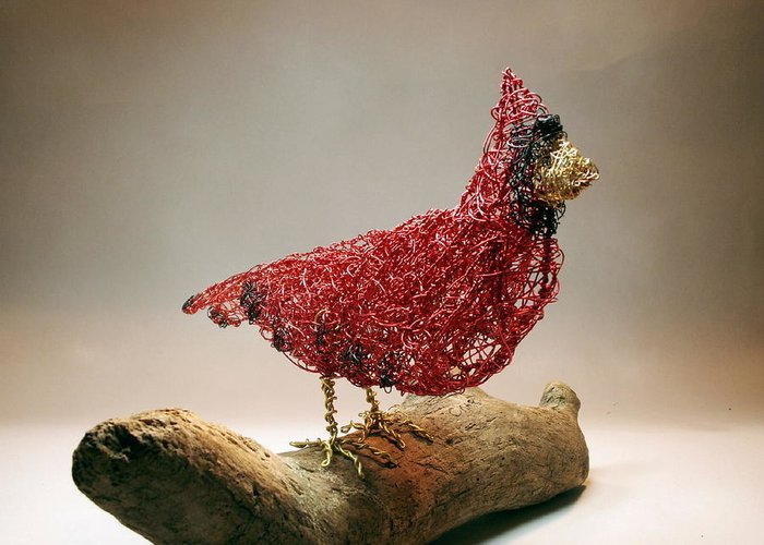 Sculpture Greeting Card featuring the sculpture Big Red by Charlene White
