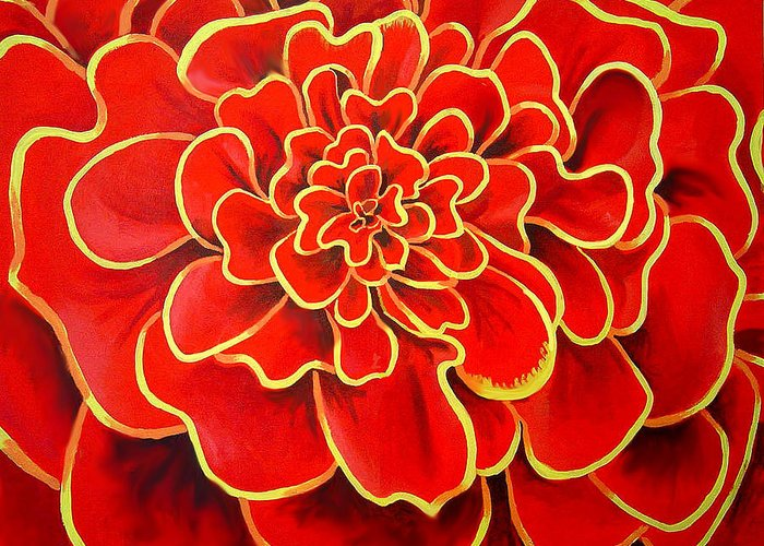 Diptych Greeting Card featuring the painting Big Red Flower by Geoff Greene