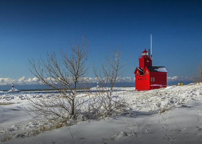 Art Greeting Card featuring the photograph Big Red Lighthouse In Winter by Randall Nyhof