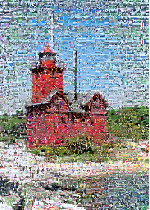 Lighthouse Greeting Card featuring the photograph Big Red Photomosaic by Michelle Calkins