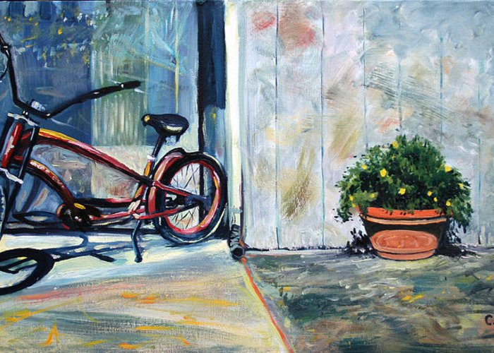 Red Bike Greeting Card featuring the painting Big Red Sausalito Cruiser by Colleen Proppe
