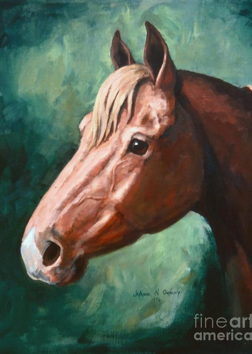 Horse Greeting Card featuring the painting Big Red Snip  Horse Painting by JoAnne Corpany