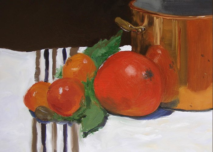 Still Life Greeting Card featuring the painting Big Red Tomato by Barbara Andolsek