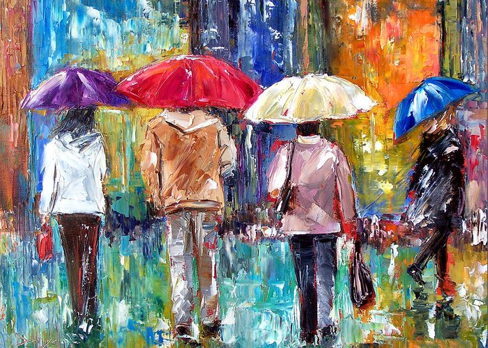 Rain Greeting Card featuring the painting Big Red Umbrella by Debra Hurd