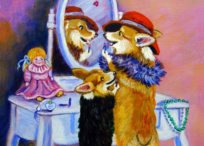 Pembroke Welsh Corgi Greeting Card featuring the painting Big Sis Little Sis by Lyn Cook