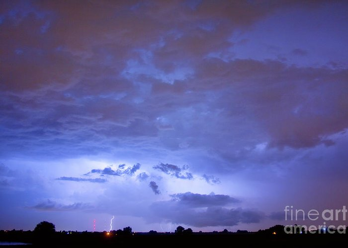 Bouldercounty Greeting Card featuring the photograph Big Sky With Small Lightning Strikes In The Distance by James BO Insogna