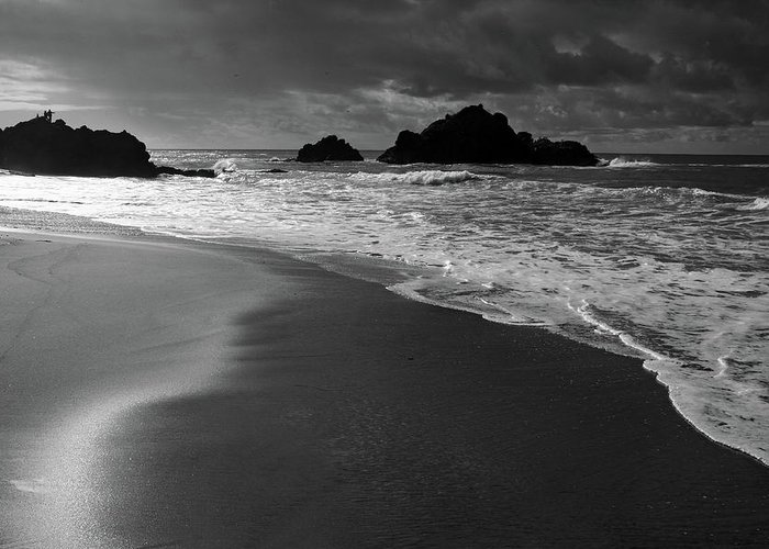 Beach Greeting Card featuring the photograph Big Sur Black And White by Pierre Leclerc Photography