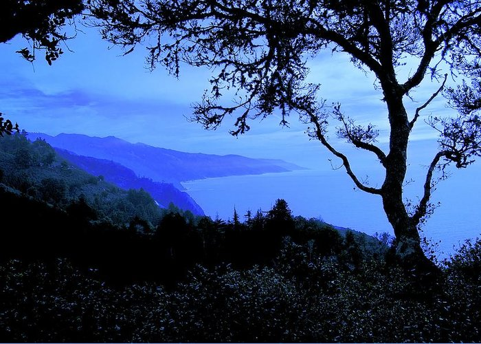 Nature Greeting Card featuring the photograph Big Sur Blue, California by Zayne Diamond Photographic