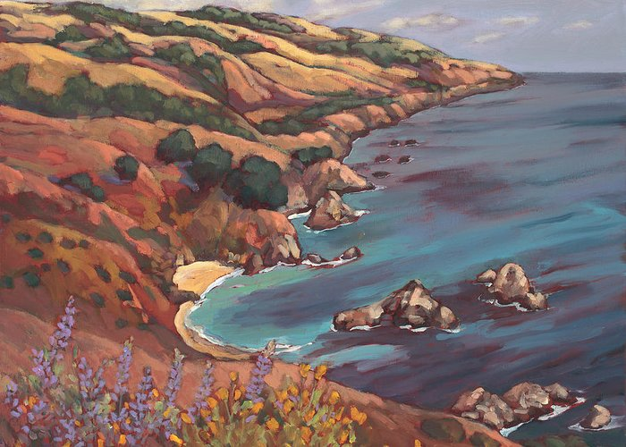 Ocean Greeting Card featuring the painting Big Sur Coast by Peggy Olsen