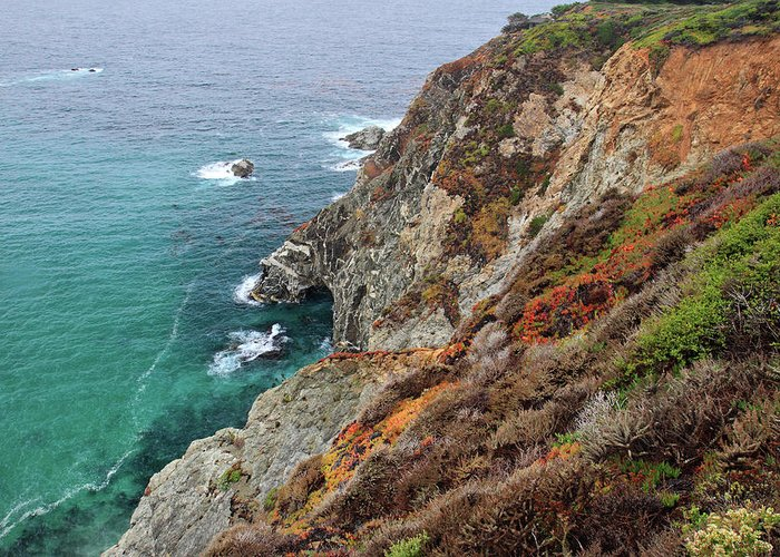 Big Sur Greeting Card featuring the photograph Big Sur Colorful Sea Cliffs by Pierre Leclerc Photography