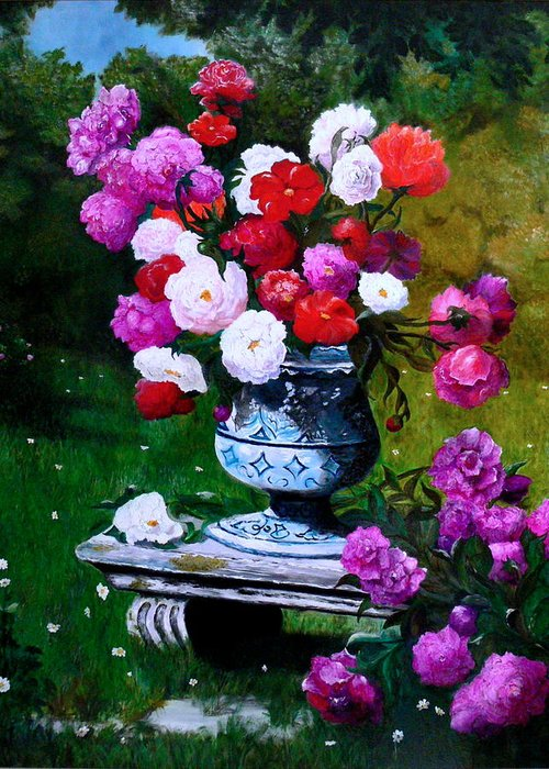 Stilllife Greeting Card featuring the painting Big Vase With Peonies by Helmut Rottler