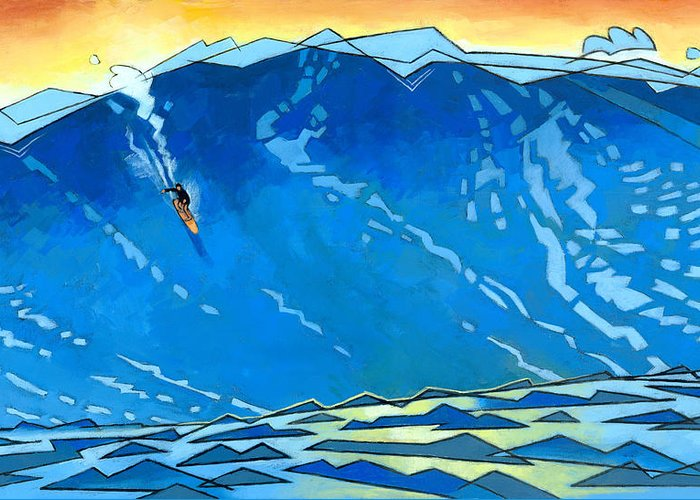 Surfer Greeting Card featuring the painting Big Wave by Douglas Simonson
