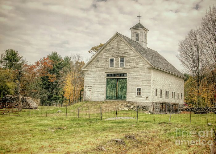 Old Barns Greeting Card featuring the photograph Big White Barn by Diana Nault