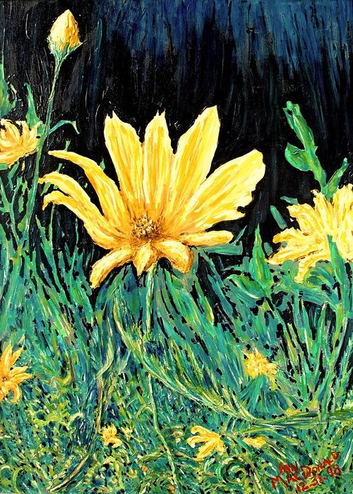 Flower Greeting Card featuring the painting Big Yellow by Ian MacDonald