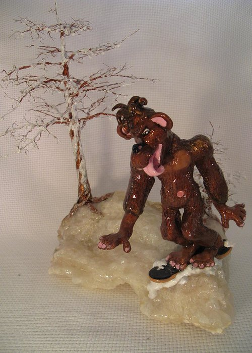Metal Tree Greeting Card featuring the sculpture Bigfoot On Crystal by Judy Byington