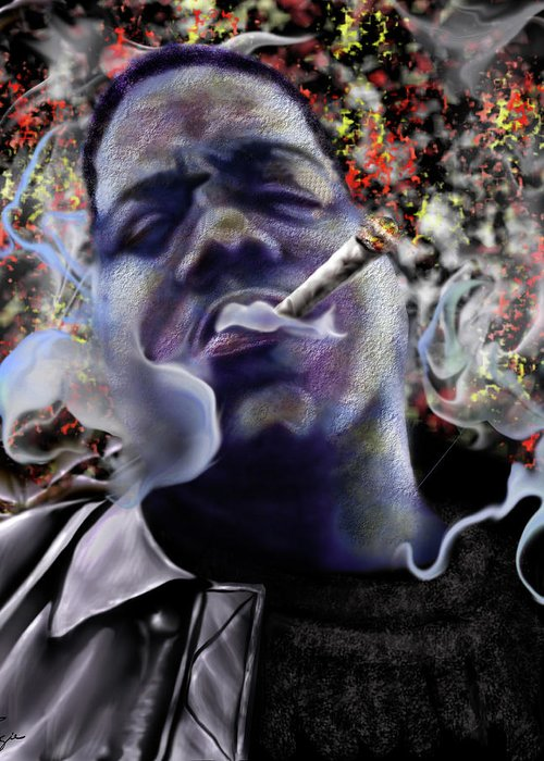 Biggie Smalls Greeting Card featuring the painting Biggie - Burning Lights 5 by Reggie Duffie