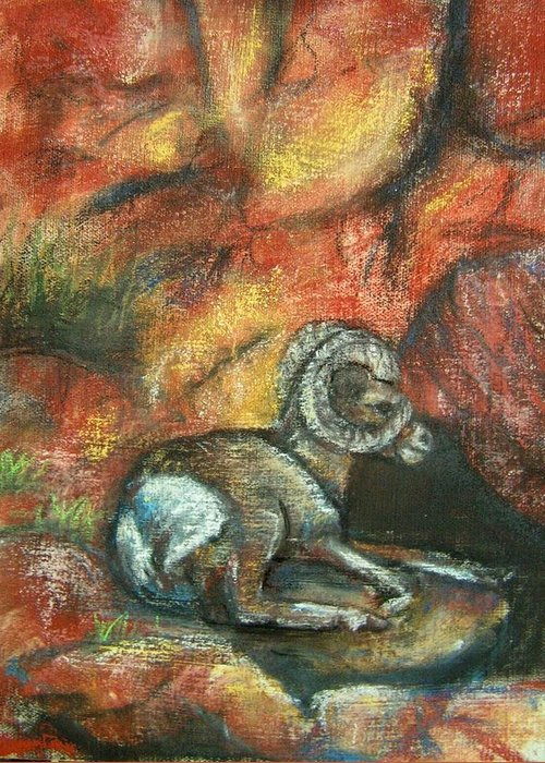 Wildlife Greeting Card featuring the painting Bighorn by Darla Joy Johnson